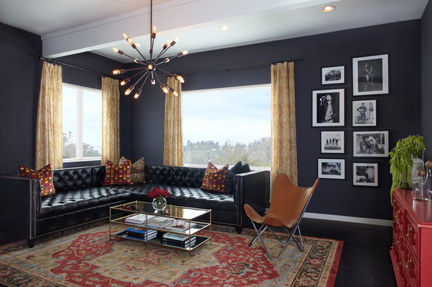 Transitional Family Room by Lindsay Pincus Design