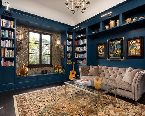 Mediterrane wohnzimmer mit blauer wandfarbe ideen design bilder houzz - Wandfarbe mediterran ...