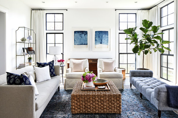 Coastal Family Room by Laura Campbell Architecture