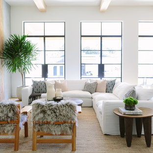 Family Room Beach Style Open Concept Light Wood Floor And Beige Idea