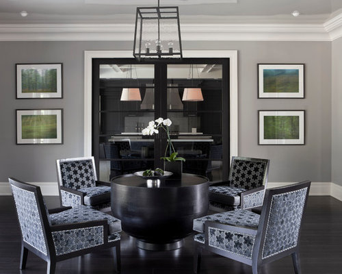 Transitional Dark Wood Floor And Black Family Room Photo In New York With Gray Walls