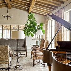 Mediterranean Family Room by David Michael Miller Associates