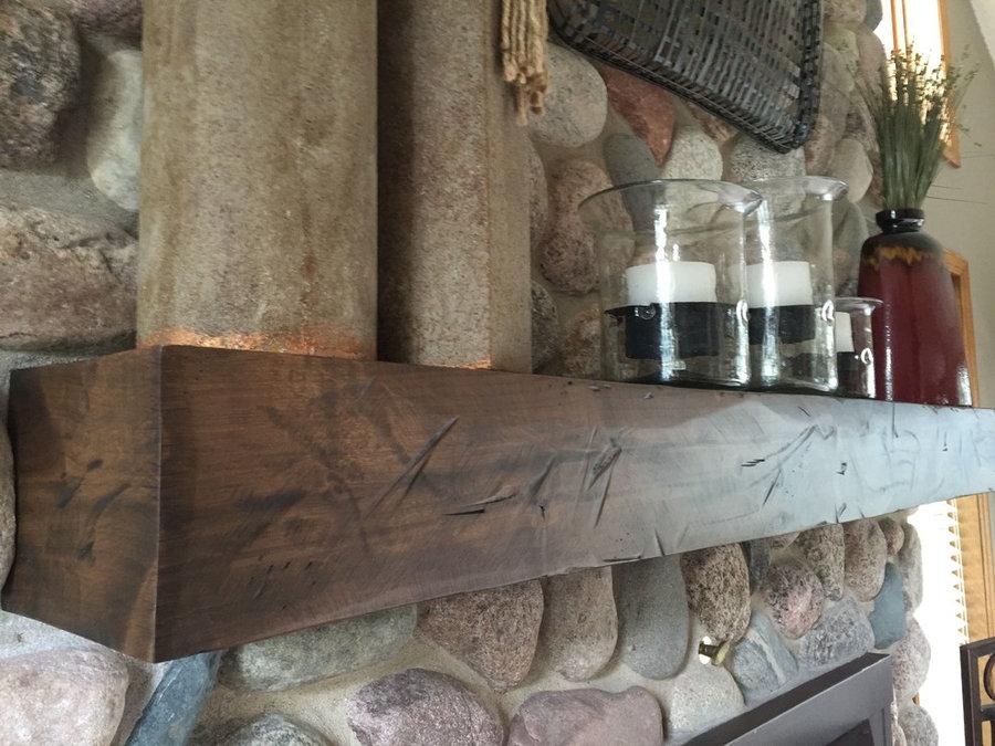 Rustic alder wood mantel