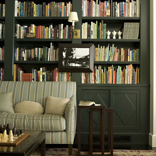 Inspiration for a transitional family room library remodel in Los Angeles