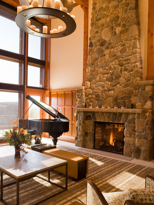 Example Of A Mountain Style Family Room Design In Santa Barbara With Music Area