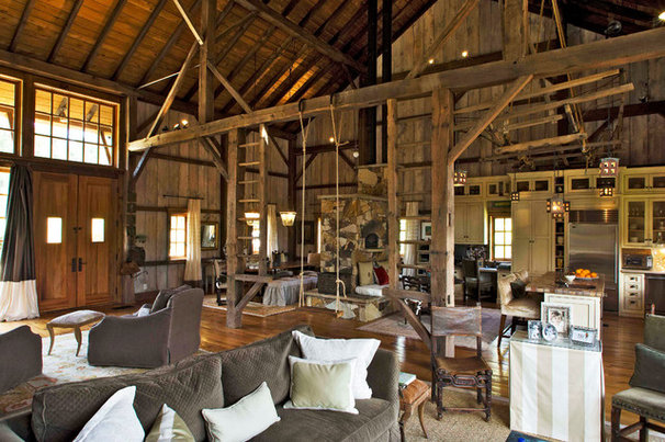 Rustic Family Room by Dungan Nequette Architects