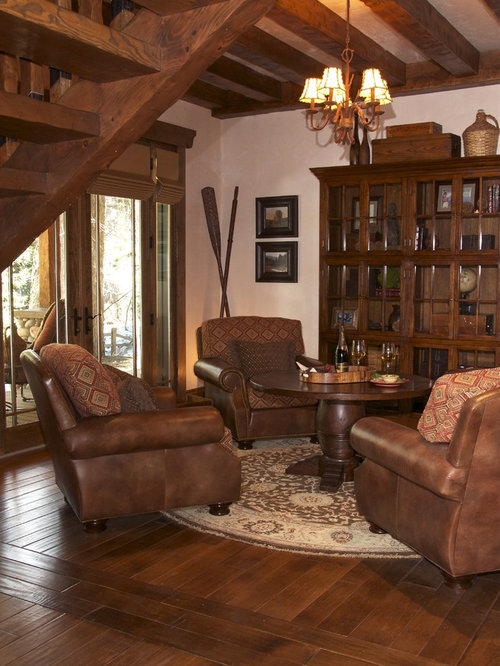 Overstuffed chairs home design ideas pictures remodel - Leather sofa arrangement in living room ...