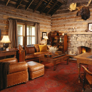 Cette image montre une salle de séjour chalet avec un mur marron, moquette, une cheminée standard, un manteau de cheminée en pierre et un sol rouge.