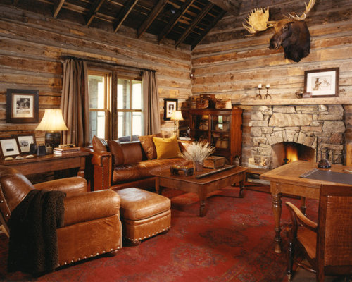 Log Cabin Family Rooms Home Design Ideas Pictures