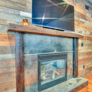 Rustic Fireplace with Barn Wood Mantel & Concrete Hearth