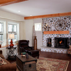 Rustic Family Room by Bartelt. The Remodeling Resource