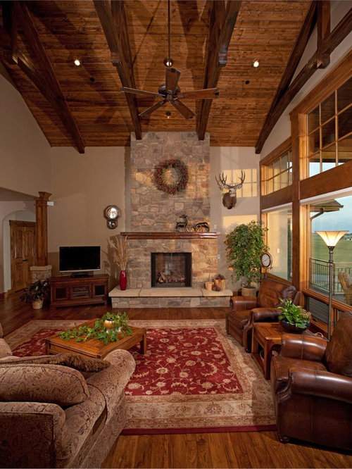 Rustic great room family room design ideas pictures for Rustic great room