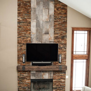 Rustic Industrial Great Room Fireplace
