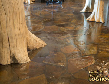 Rustic real stone floor flare bottom log posts Lakehouse 4166AL