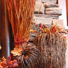 Traditional Family Room Rustic Twig Pumpkins/Fall