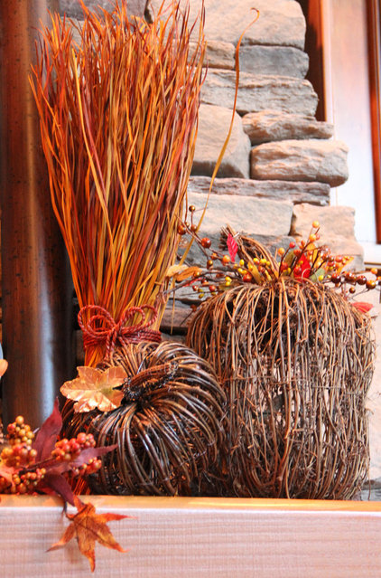 Traditional Family Room Rustic Twig Pumpkins/Fall