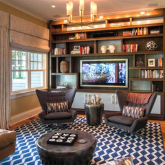 eclectic media room by Willey Design LLC