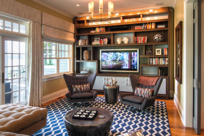 Beach Style Home Theater by Willey Design LLC