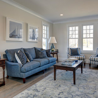 Family room - small transitional open concept family room idea in New York