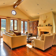 Mediterranean Family Room by Allwood Construction Inc