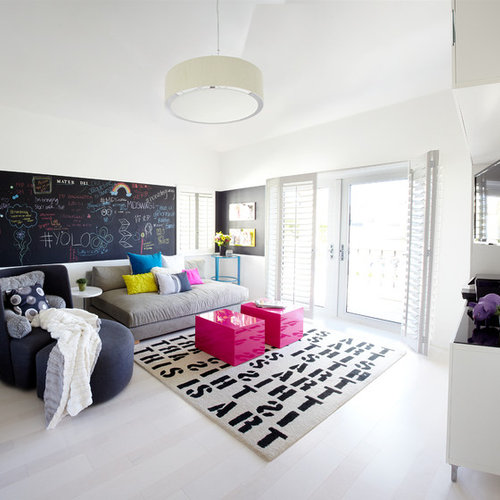 Inspiration For A Mid Sized Modern Open Concept Family Room Remodel In  Orange County With Part 34