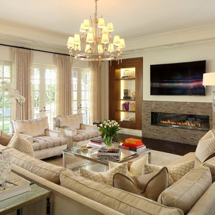 Mid-sized ornate open concept dark wood floor and brown floor family room photo in Los Angeles with white walls, a ribbon fireplace, a tile fireplace and a wall-mounted tv