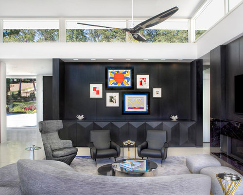 inspiration for a large 1950s open concept family room remodel in atlanta with a ribbon fireplace - Mid Century Modern Design Ideas