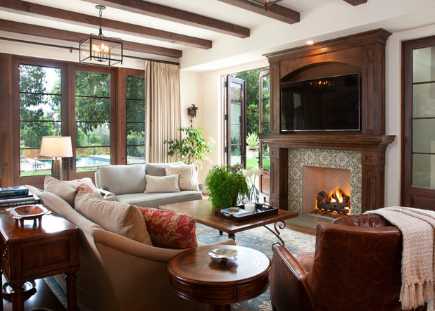 Mediterranean Family Room by B St. Design