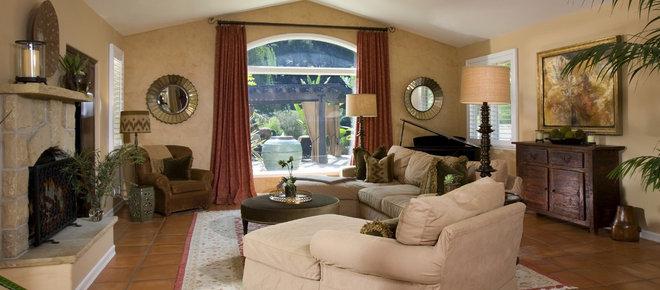Mediterranean Family Room by M. Roy Interior Design