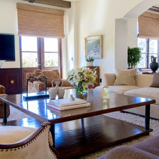 Transitional Family Room by Interior Archaeology