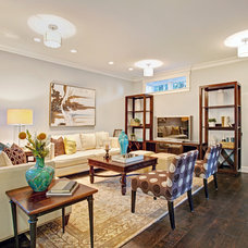 Transitional Family Room by Baron + Baron Design:  Interiors.Staging.Build