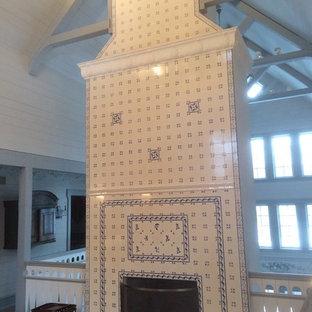 Scandinavian Farmhouse Fireplace, Delft Tiles