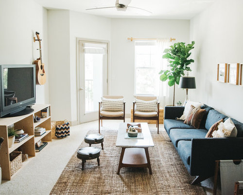 living room carpet. Danish carpeted and beige floor living room photo in Other with white walls  a tv Living Room Carpet Ideas Houzz