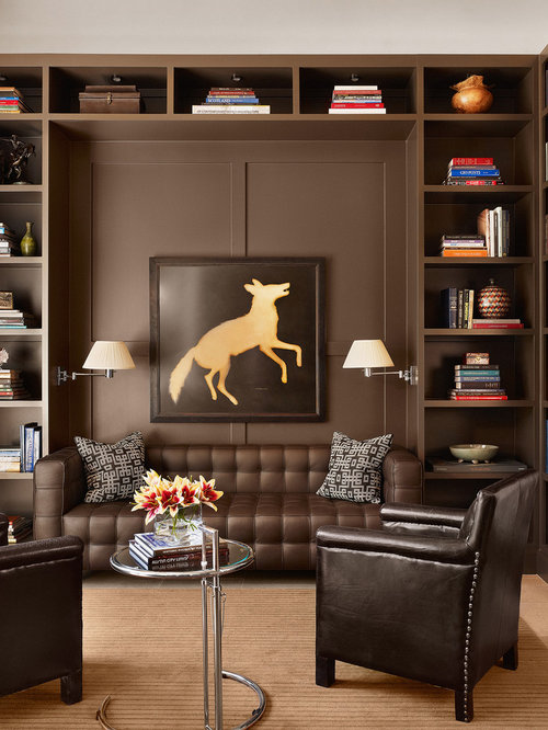 Example Of A Trendy Family Room Design In Austin With Brown Walls