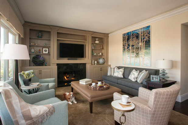 Shabby-chic Style Family Room by Linda Rosen Interiors