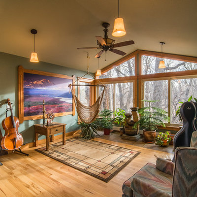 Example of a mountain style medium tone wood floor and brown floor family room design in Denver with a music area and green walls