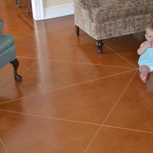 Scored Stained Floor - Family Room