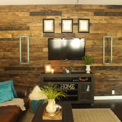Inspiration for a mid-sized rustic enclosed dark wood floor game room remodel in Phoenix with beige walls, no fireplace and a wall-mounted tv