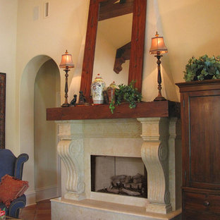 Scroll Limestone Fireplace with Wood Mantle