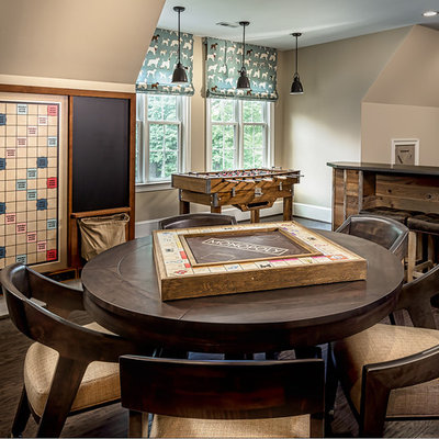 Game room - large rustic enclosed dark wood floor and brown floor game room idea in DC Metro with beige walls, no fireplace and a wall-mounted tv