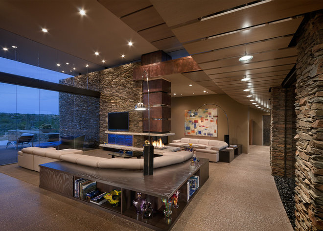 Southwestern Family Room by Tate Studio Architects