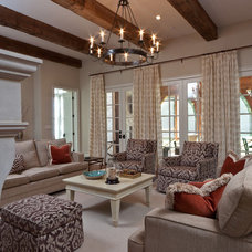 Transitional Family Room by Anna Baskin Lattimore Design