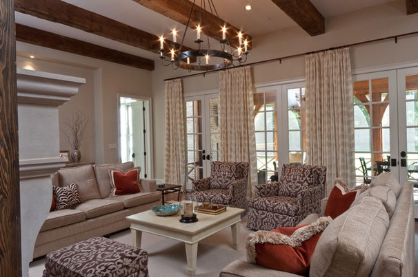 Transitional Family Room by Anna Lattimore Interior Design