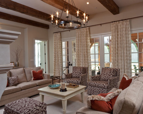 Example Of A Transitional Family Room Design In Other With Beige Walls