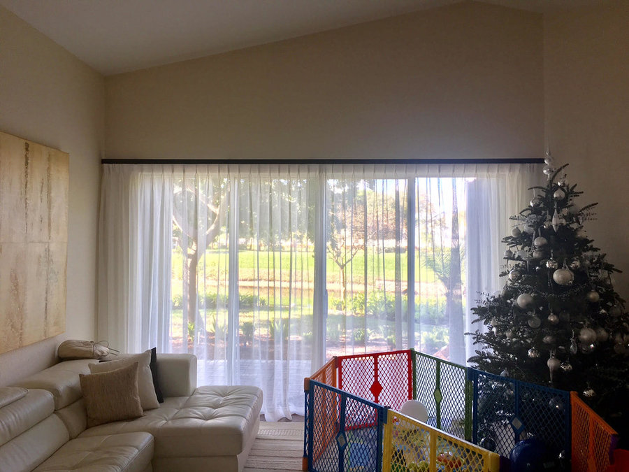 Sheer draperies for Sliding door