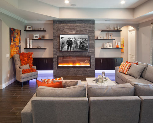 Modern living room fireplace - Transitional Family Room Design Ideas Remodels Amp Photos Houzz