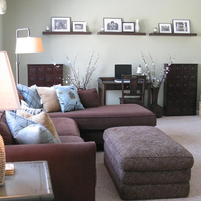 Trendy carpeted family room photo in Philadelphia with gray walls