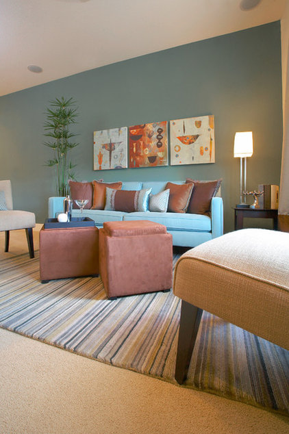 Contemporary Family Room by Kerrie L. Kelly