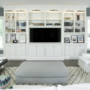Inspiration for a classic games room in DC Metro with grey walls, carpet, no fireplace and a wall mounted tv.