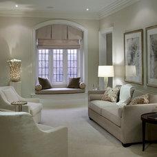 Transitional Family Room by Douglas Design Studio